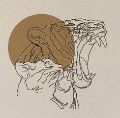 Art Inspo, Inspiration Art, Art Tigre, Lion Illustration, Tiger Art, Lion Art, Aesthetic Art, Oeuvre D'art, Art Drawings