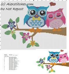 Owls in love free cross stitch pattern - free cross stitch patterns by Alex