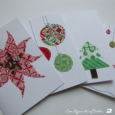 DIY Christmas cards 8yo friendly. Easy to assemble. Turn out really lovely. Key is starting with good fabric or paper.