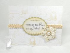 Monochromatic Cream-on-white friendship card, using Mark's Finest Papers stamps.