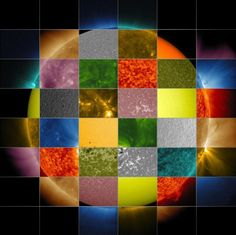 A collage of solar images from NASA's Solar Dynamics Observatory (SDO) shows how observations of the sun in different wavelengths helps highlight different aspects of the sun's surface and atmosphere.