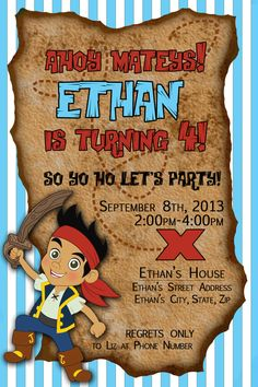 Jake and the Neverland Pirates Birthday Party Invitation - Custom Digital Invitation