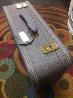 Vintage retro hipster grey tweed luggage suitcase by SalvageAngelByTheSea on Etsy