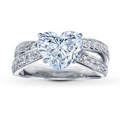 0.48 Carat F-VVS1 Ideal Cut Heart Diamond plus Diamond Ring Setting 1/2 ct tw Round-cut  14K White Gold