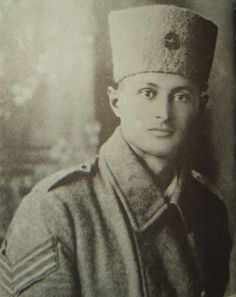 """""""Future IDF Chief of Staff, Moshe Dayan, as a 'Noter' and wearing a metal emblem of the 'Ghaffir' on his kolpak hat"""""""