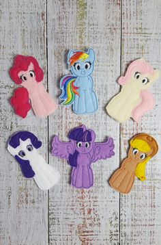 """This set of My Little Pony inspired finger puppets is ready to keep your child entertained for hours! These soft toys would be great for a road trip! Each puppet measures approximately 3.5"""" tall and i"""