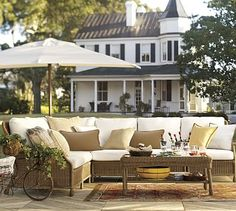 Saybrook All-Weather Wicker Sectional Set #potterybarn
