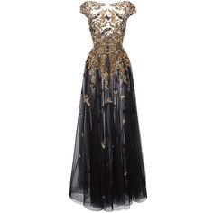 Zuhair Murad Gold Threadwork Gown ($9,830) ❤ liked on Polyvore featuring dresses, gowns, long dresses, long sleeve dress, long sleeve evening dresses, beaded gown, beaded dress and gold ball gowns