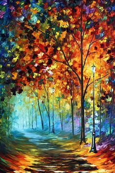 Fog Alley Painting by Leonid Afremov - Fog Alley Fine Art Prints and Posters for Sale