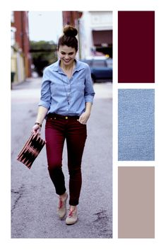 Colour Combinations Fashion, Color Combinations For Clothes, Fashion Colours, Colorful Fashion, Color Combos, Look Fashion, Fashion Outfits, Womens Fashion, Burgundy Outfit