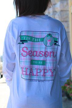Tis the Season to be Happy Long Sleeve Tee {White} - The Fair Lady Boutique - 1