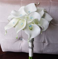 Silk Wedding Bouquet with Calla Lilies - Off White Natural Touch Callas and Crystals Silk Bridal Flowers