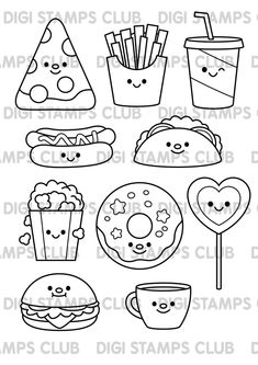 Cute junk food-themed white and black stamps. Ideal for your upcoming card making and scrapbooking projects. Easy Doodles Drawings, Cute Food Drawings, Mini Drawings, Easy Drawings For Kids, Simple Doodles, Drawing For Kids, Food Drawing Easy, Simple Cute Drawings, Drawing Ideas