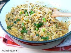 """I must try this - looks so easy - """"fried rice"""" cauliflower One-Pot Paleo Pork Fried Rice - PaleoPot - Easy Paleo Recipes - Crock Pot / Slow Cooker / One-Pot Paleo Recipes Easy, Primal Recipes, Pork Recipes, Crockpot Recipes, Whole Food Recipes, Cooking Recipes, Paleo Meals, Paleo Food, Crockpot Chile"""