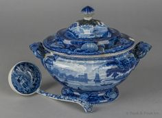 """Pook & Pook. October 11th & 12th 2013. Lot 683.  Estimated: $500 - $1000.   Realized Price: $1215.   Historical blue Staffordshire lidded tureen, depicting Bellville on the Passaic River, together with a ladle, 11"""" h., 14 1/2"""" w."""