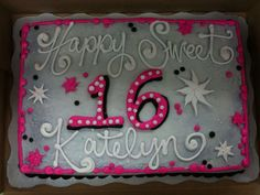 Sweet 16 Cake Buttercream icing and Silver Pearl Airbrush, which I like a lot! This cake matches my Tiara Cupcake Cake. Sweet 16 Birthday Cake, Birthday Sheet Cakes, Birthday Cakes For Teens, Birthday Cake Toppers, 16th Birthday, Birthday Ideas, Birthday Parties, Sweet 16 Cupcakes, Sweet Cakes