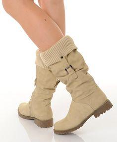 226843e55fd7 Chaussure pour femme pas cher bottes rebord pull beige pl2047 Chaussure  Femme Pas Cher, Bottes