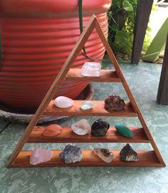 Crystal Display, Triangle Shelf, Gemstone Display, Pyramid Shelf, Gemstone…