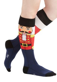 "Celebrate the winter holidays with especially festive flair while sporting these seasonal nutcracker knee socks! I'm thinking these for ""Crazy Sock Night"" at Awana! Crazy Socks, My Socks, Knee Socks, Cool Socks, Silly Socks, Funky Socks, Nutcracker Sweet, Ugly Sweater Party, Winter Socks"