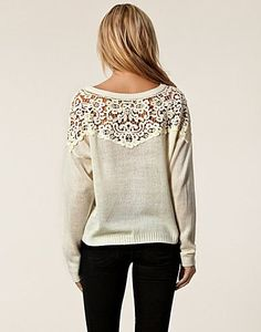 Adorable sweater - upcycle an old sweater, cut out the upper portion & replace by sewing in some pretty lace! #sweaterweather
