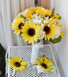 artificial flower wedding bouquet sunflower rose by Wendyslife