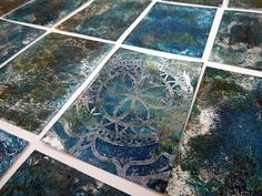 Inky Dinky Doodle: WOYWW #370: Grungy gelli printed ATCs