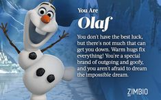 Behind every great story is a great sidekick. I'm Olaf - Which Disney Sidekick are you? - http://www.zimbio.com/quiz/sV12uzkg6lz/Which+Disney+Sidekick+are+You