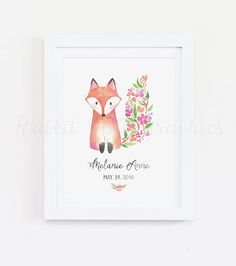 This fox watercolor print is perfect your little ones nursery or bedroom! It will be personalized with the childs name and birth date. Please type the name and birth date exactly how you would like them in the Notes to Seller section at checkout. This listing is for a customized DIGITAL file for you to print at home or at a print shop. No physical items will be shipped. How to order: - Choose your print size & let me know what you would like written on the print in the Notes to Seller sec...