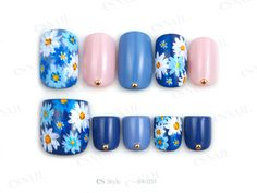 blue with flowers