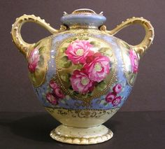 Antique Double - Handled Nippon Vase, Spectacular Color, Hand Painted, from fritziesshop on Ruby Lane