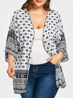 821d80a3e7 Elephant Print Open Front Plus Size Blouse - WHITE ONE SIZE Plus Size  Clothing Stores