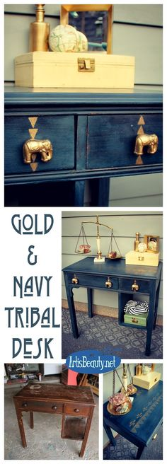Not for me, but it's a cool idea. The Golden Elephant! Navy and Gold Tribal Aztec Desk Makeover Diy Garden Furniture, Paint Furniture, Repurposed Furniture, Furniture Projects, Furniture Movers, Desk Makeover, Furniture Makeover, Design Studio, Diy Desk