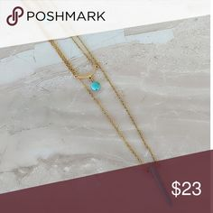 DAINTY GOLD AND TURQUOISE STATEMENT NECKLACE 18K GOLD PLATED LAYERED STATEMENT NECKLACE AND AUTHENTIC TURQUOISE CHARMS  GORGEOUS STATEMENT NECKLACE 3 LAYERS TOTAL  16 INCHES LONG  18 INCHES LONG  20 INCHES LONG  GOLD LOBSTER CLASP Alquimia Jewelry Necklaces