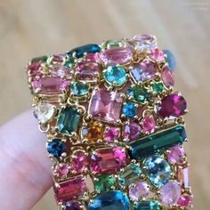 ALL THE COLORS OF THE RAINBOW!! Multi colored #tourmaline Bracelet from…