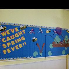 Spring bulliten board. Kids make fish, dragon flies, and bees.