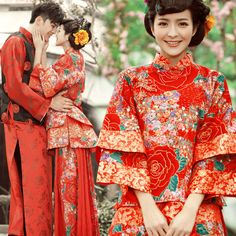 Chinese wedding dress- what's new in it? chinese wedding dress traditional chinese wedding costume promotion-shop for promotional . Chinese Wedding Dress Traditional, Traditional Dresses, Rental Wedding Dresses, Weeding Dresses, Dress Rental, Wedding Outfits, Wedding Wear, Trendy Wedding, Asian Wedding Dress