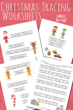 Christmas Letter and Word Tracing Worksheets