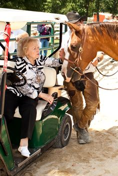 "Celebrity Betty White got to hang out with American Quarter Horse Chocolena Chic Bar, owned by Sarah Newland. Betty sponsors BraveHearts Therapeutic Riding & Educational Center of Harvard, Illinois, where Sarah works.  ""I thought it was so fun that Betty got to meet my Quarter Horse, 'Chica'!"" Sarah said."