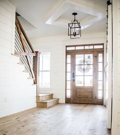 50 Best Farmhouse Entryway Design Ideas You Must Try In If you are looking for [keyword], You come to the right place. Below are the 50 Best Farmhouse Entryway Design Ideas You Must Try In Open Entryway, Entryway Ideas, Entryway Stairs, Wood Stairs, Entry Foyer, Entry Way Design, Entrance Design, House Entrance, Foyer Decorating