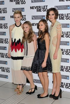 """Keira Knightley Photos Photos - Actresses (L-R) Carey Mulligan, Isobel Meikle Small, Ella Purnell and Keira Knightley attend the """"Never Let Me Go"""" premiere during the Opening Night of the 54th BFI London Film Festival at the Odeon Leicester Square on October 13, 2010 in London, England. - Never Let Me Go - Premiere: Opening Night 54th BFI London Film Festival"""
