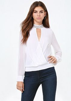 bebe Embellished Neck Top #bebe #pinyourwishlist
