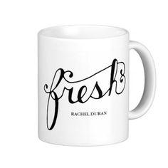 calligraphy fresh basic white mug