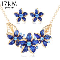 17KM New Crystal Flower Jewelry Set Necklace Earrings African Maxi Statement Jewelry Wedding Bridal Pendant Dress Accessories-in Jewelry Sets from Jewelry & Accessories on Aliexpress.com | Alibaba Group