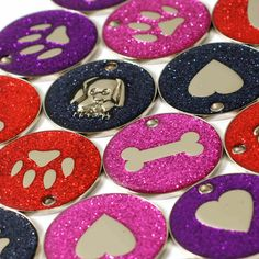 nice Pet ID Tags, LARGE 32mm Reflective Glitter Dog Tag, 14 COLOURS + ENGRAVED OPTION