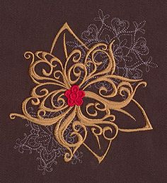 """""""Baroque Noel - Poinsettia"""" Craft a glamorous Christmas with this beautiful, swirling poinsettia design! - UT7141 (Machine Embroidery) 00572034-112013-0830-6"""