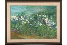 Irises on OneKingsLane.com.  Original vintage art, from Anna Hackathorn Interior Design.