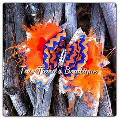 Thunder or Florida Gators inspired Over the Top Boutique Bow orange blue Oklahoma on Etsy