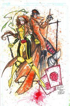 Rogue and Gambit. Art by Rob Duenas.