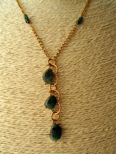 Emerald necklace, Y necklace, polished stones, faceted emeralds, 22 inch necklace, May birthstone, emerald pendant, limited edition jewelry - pinned by pin4etsy.com