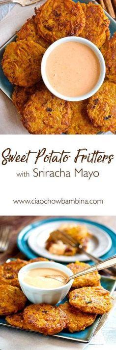 Sweet Potato Fritters with Sriracha Mayo ciaochowbambina.com